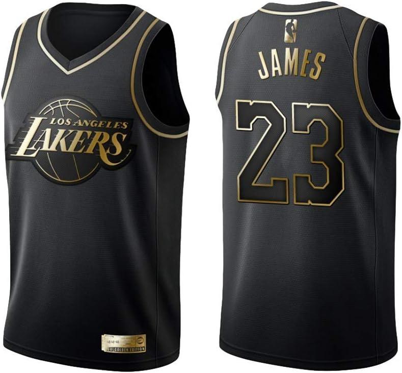 KKSY Camiseta de Baloncesto Hombres James Lakers # 23 Black Gold ...