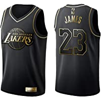 KKSY Camiseta de Baloncesto Hombres James Lakers # 23 Black Gold Color Match Retro Fitness Camiseta sin Mangas Top Deportivo