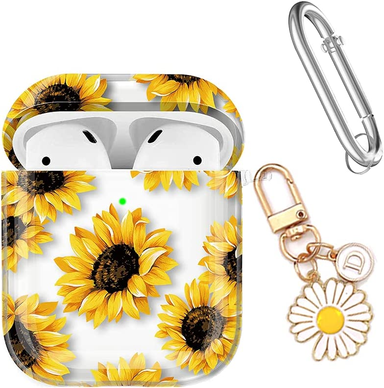 VIWIDER AirPods Case Cover, Cute Clear Sunflower Protective Case Shockproof Cover with Flower Keychain Accessories Fadeless Floral AirPods Charging Case 2&1 (Clear Sunflowers)