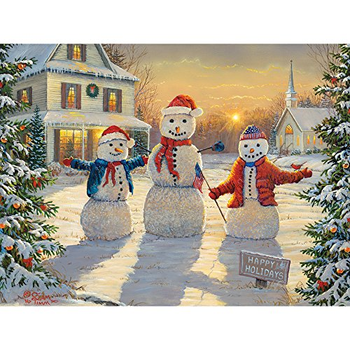 Bits and Pieces - 300 Large Piece Jigsaw Puzzle for Adults - Holiday Greeters - 300 pc Snowmen, Holiday, Christmas Jigsaw by Artist Samm Timm