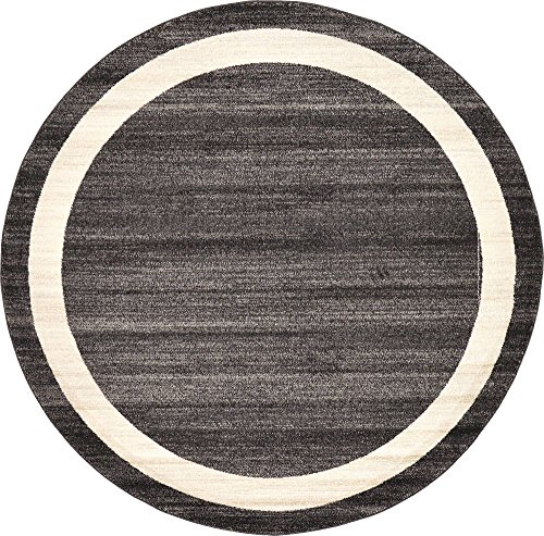 Black Transitional Round Rug - Unique Loom Del Mar Collection Contemporary Transitional Black Round Rug (6' 0 x 6' 0)