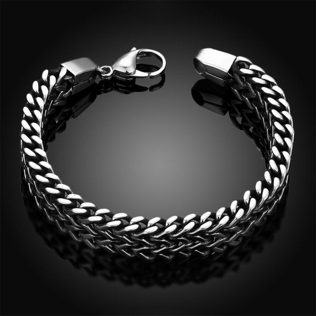 20,3/cm Hmilydyk 316L en acier inoxydable deux bl/é Bracelet cha/îne pour homme Punk motard Bracelet