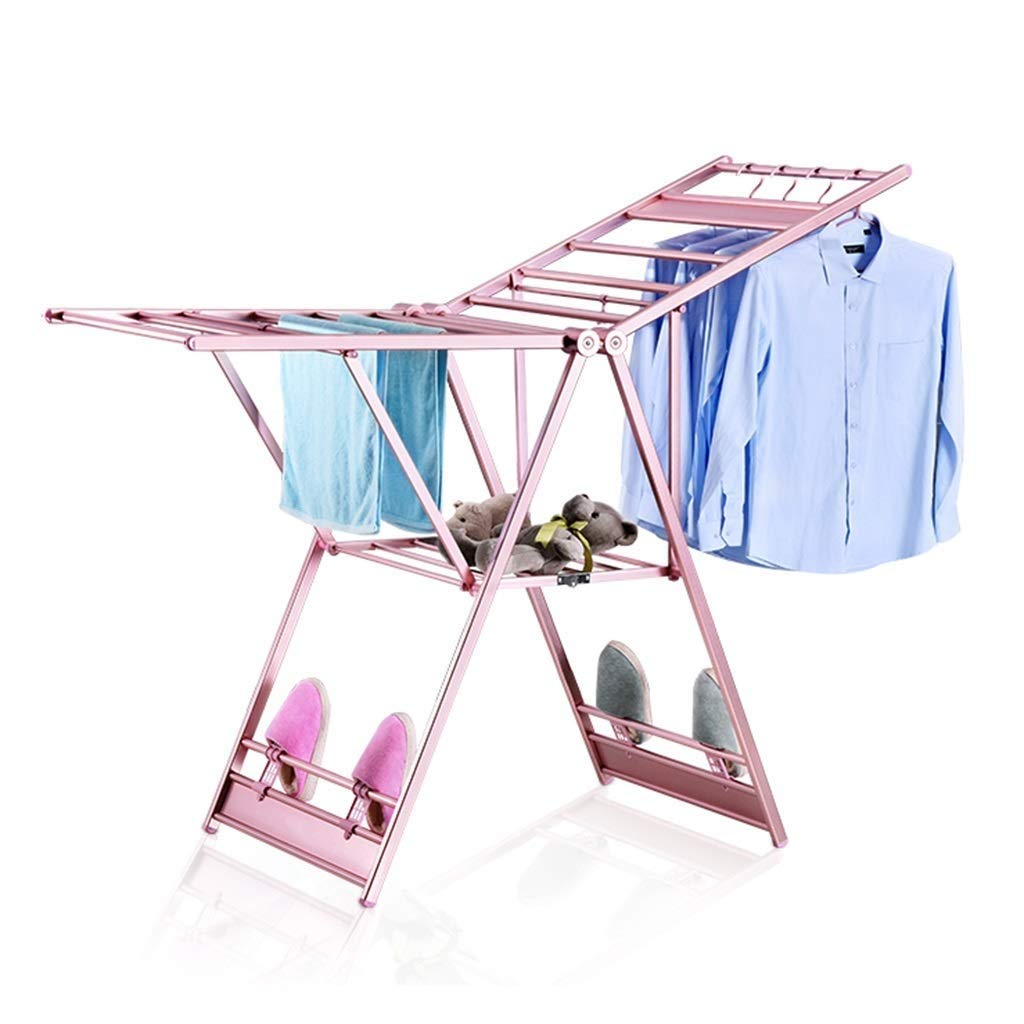 HYZLYJ Drying Rack, Folding Household Floor, Aluminum Drying Rack, Indoor Mobile, Simple Drying Rack, Space Saving Folding Laundry Rack