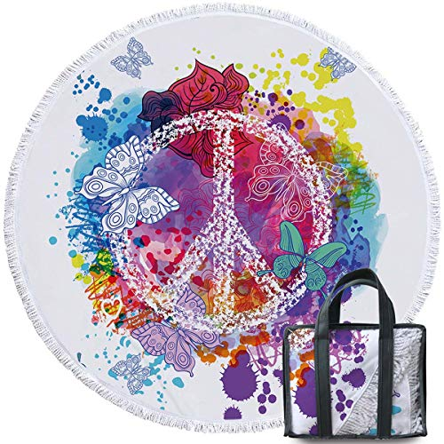 - Sleepwish Peace Sign Beach Towel Yoga Circle Mat Watercolor Rainbow Art Psychedelic Yoga Mat Hippie Round Table Cover (Peace Butterflies, 60
