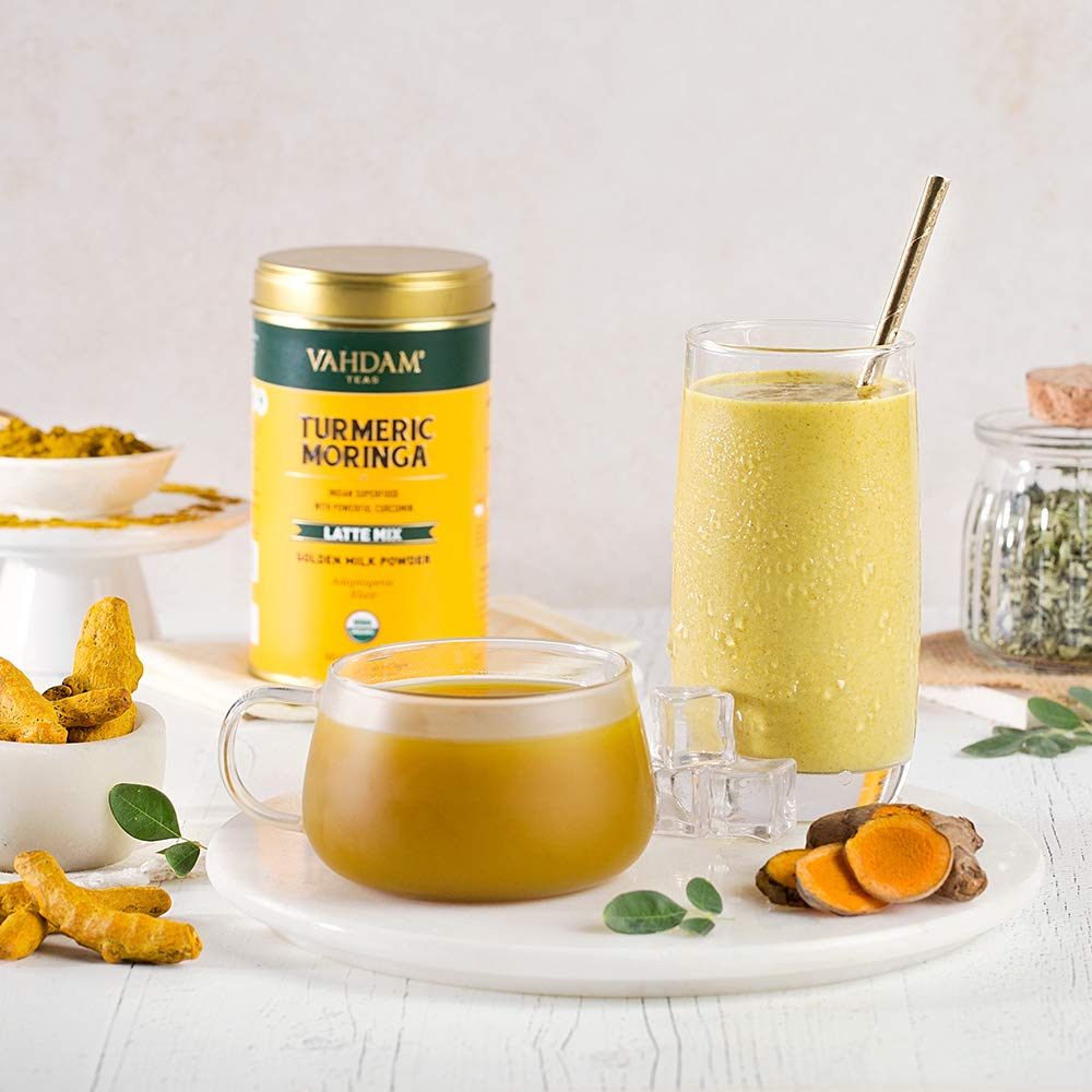 Golden Milk Powder with Powerful CURCUMIN | Turmeric Powder + Moringa | Turmeric Latte | Turmeric Tea | Brew Hot or Iced