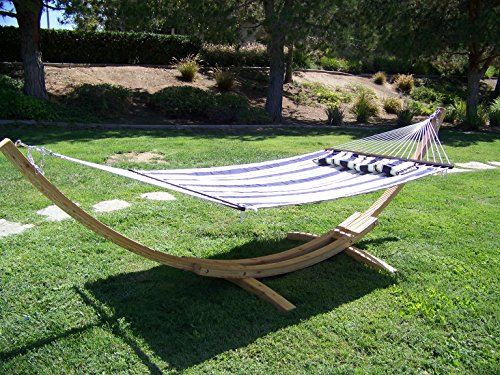 Petra Leisure 14 Ft. Natural Wooden Arc Hammock Stand + Deluxe Quilted Elegant Blue Stripe, Double Padded Hammock Bed w/Pillow. 2 Person Bed. 450 LB Capacity