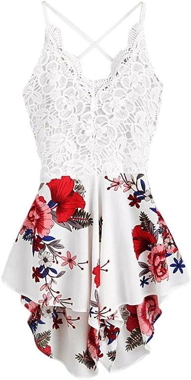 Fathoit Combinaison Short Femme,Femmes Bohemian Crochet V Neck Lace Panel Bow Tie Retour Floral Dames Summer Shorts Jumpsuit,Combishort Femme Ete