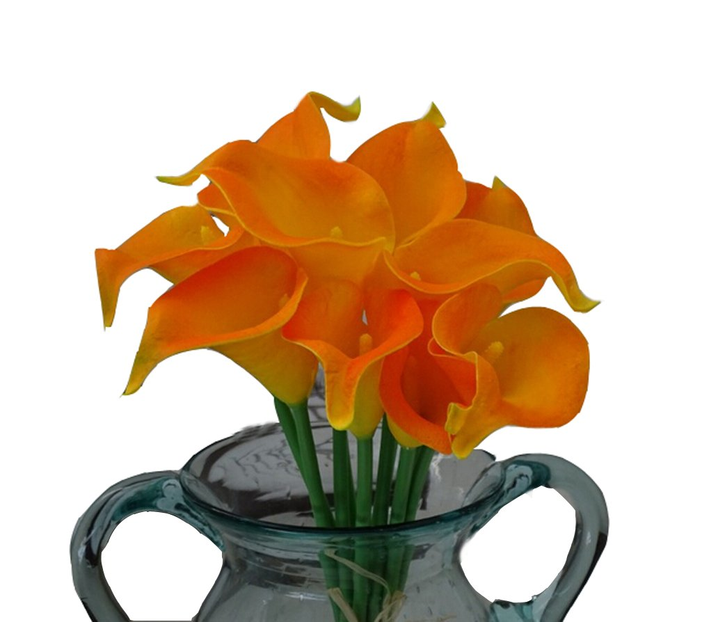 Flyusa 10 Pcs Calla Lily Bridal Wedding Bouquet Head Real Touch Flower Bouquets Artificial Flowers for Home Party Decoration(Orange Yellow)