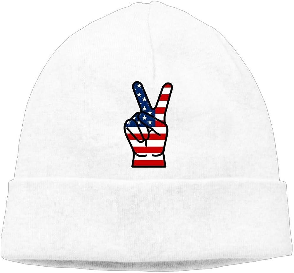 Michgton Beanie Cap Skull Caps Winter Cool USA Peace Fingers Mens