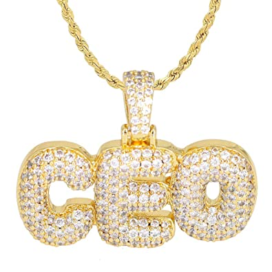 2bbf37ca4cd95 TRIPOD JEWELRY Hip Hop Micropave Simulated Lab Diamond Iced Out Bling  Custom CEO Bubble Letters Dripping Initial Bubble Letter Pendant with Rope  Chain ...