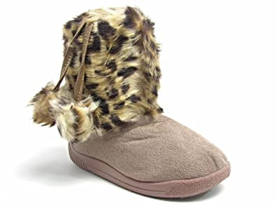 ba1017a9761f Toddler Kids Baby Girl Animal Print Faux Fur Winter Boots Pom Poms (5