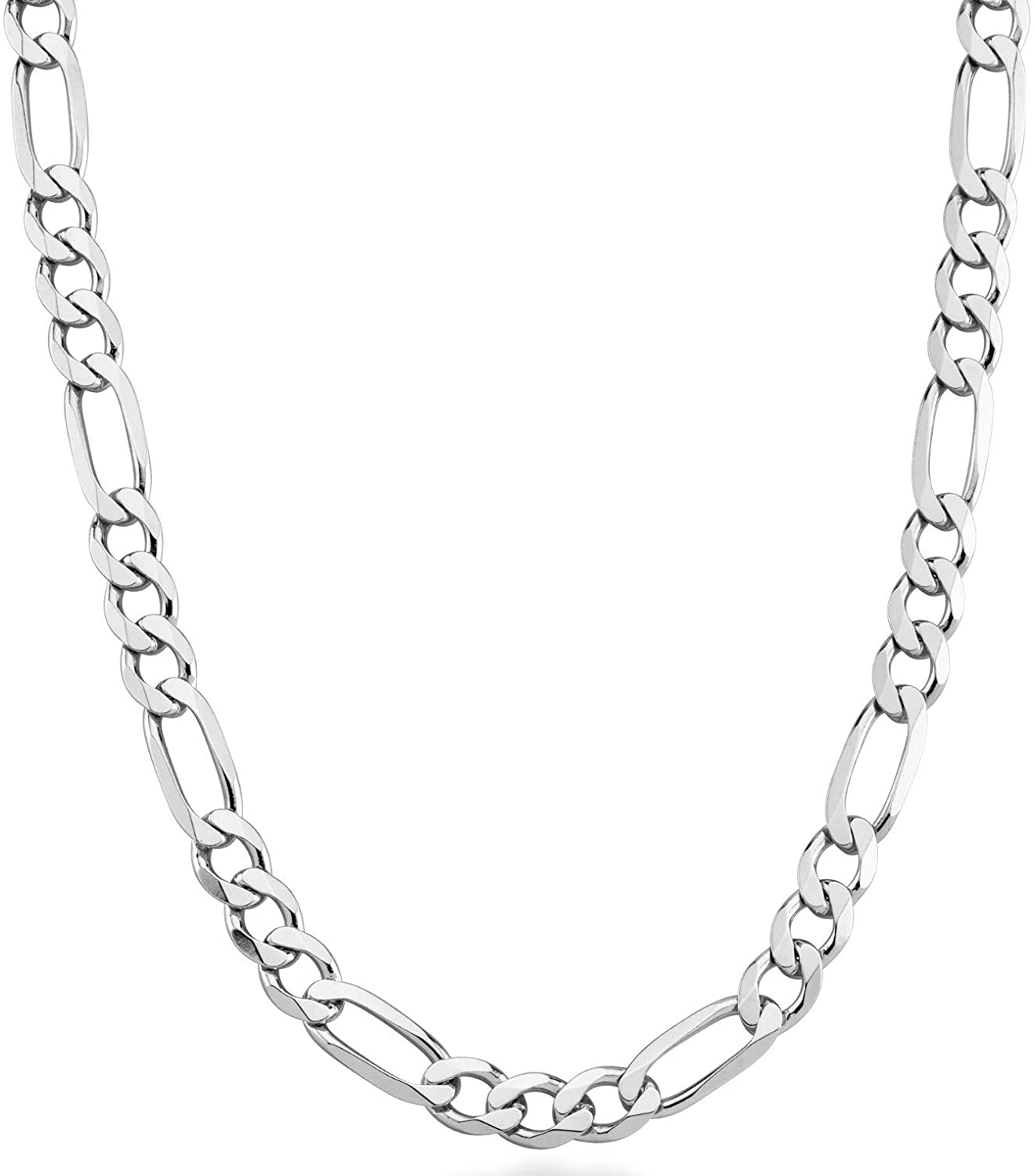 Miabella 925 Sterling Silver Italian 7mm Solid Diamond-Cut Figaro Link Chain Necklace for Men, 18, 20, 22, 24, 26, 30 Inches