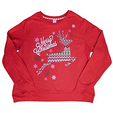 2a55d9f18ea Holiday Time Womens Plus Red Merry Christmas Reindeer Pullover Sweatshirt  Top M