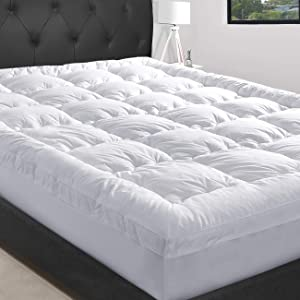 """MASVIS King Mattress Topper with 8-21""""Deep Pocket-2"""" Thick Double Border Breathable Down Alternative Fiber Mattress Pad (King, White)"""