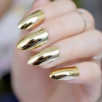e5b9c3ccf3540 Light Gold Stiletto-Nägel Metall Spiegel Design Kit M Full Cover False Nail  Tipps Frauen