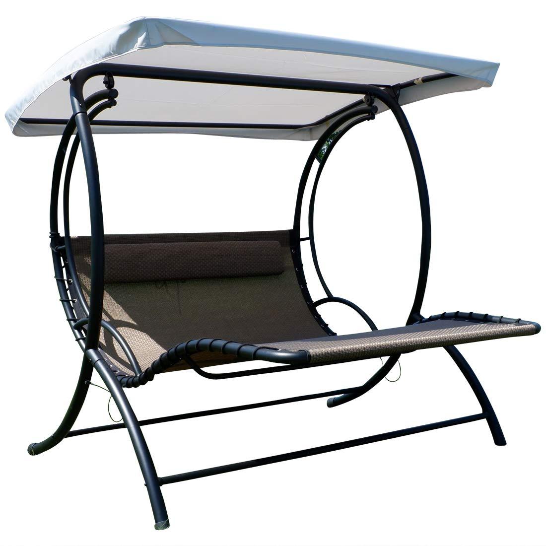 Diseño oscilación del jardín porche columpio acero curvado ergonomicamente de tela sintetica transpirable con cojines y techo modello: NAXOS de AS-S