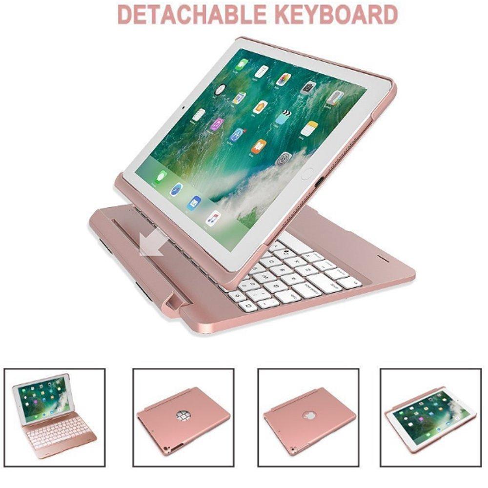LED 7色バックライト付きワイヤレスBluetoothキーボード、sammid超スリムハードシェルフォリオスタンドスマートカバーfor Ipad iPad Pro 9.7 SMD-CXJPF02-Pro9.7--RG iPad Pro 9.7 ローズゴールド B077HKV9WS