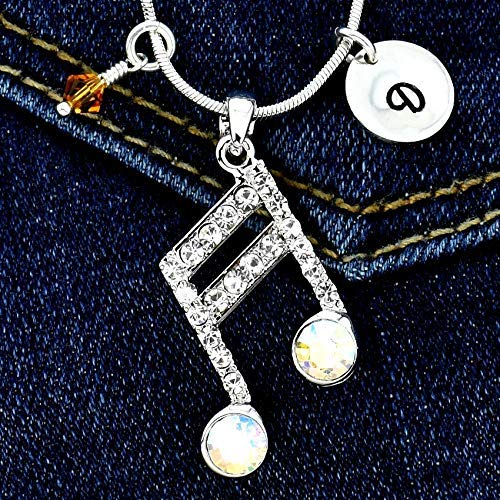 (Musical Double Bar Note Pendant Custom Clear AB Color Music Symbol Necklace Personalized Hand Stamped Initial Letter Charm Sparkling Crystals Birthstone Charm Chain Gift)