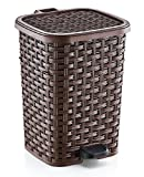Superio Rattan Style Compact Trash Can, 6.8 Gallon, Brown