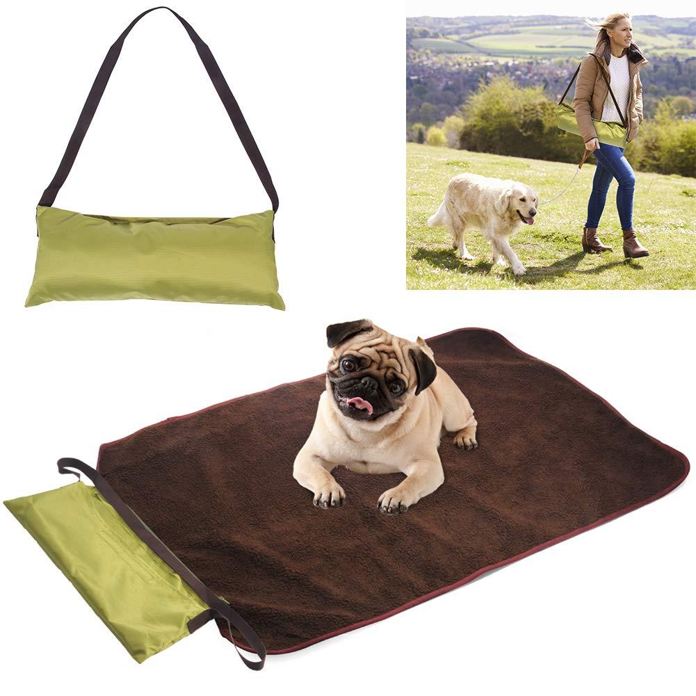 Petneces Pet Dog Indoor/Outdoor Throw Blanket Floor Mat Portable Warm Fleece&Waterproof Oxford Reversible Mattress Bed for Outdoor Travel Used Small Medium Large Pet