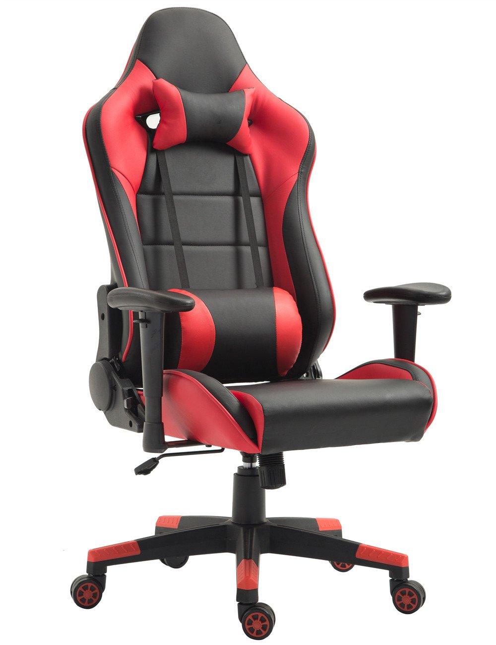 Tiigo Chaise Gamer Fauteuil de Bureau Chaise Ordinateur Hauteur réglable (Noir/Rouge)