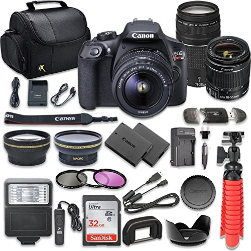 Canon EOS Rebel T6 DSLR Camera Bundle with Canon EF-S 18-55mm f/3.5-5.6 IS II Lens + EF 75-300mm f/4-5.6 III Lens + SanDisk 32GB Memory Card + Accessory Kit from Canon