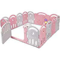 COSTWAY Parque Infantil Bebé con 14 Paneles Plegable Centro de Actividad para Niños Barrera de Seguridad con Puerta con…