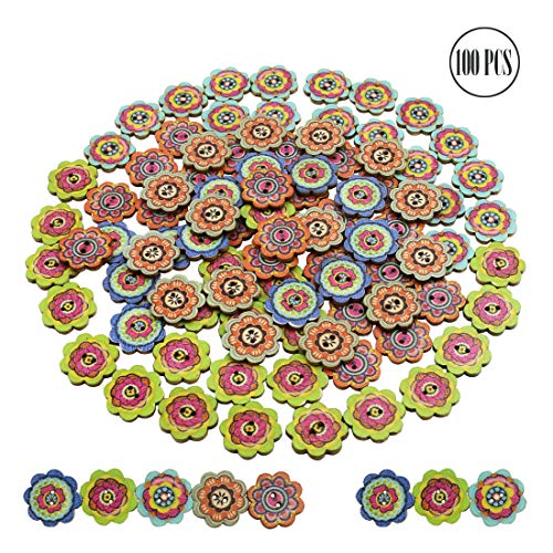 BcPowr 100 PCS 20mm Retro Petal-shaped Button?Mixed Random Shinning Round 2 Holes Wooden Buttons for Sewing Crafting?Large?