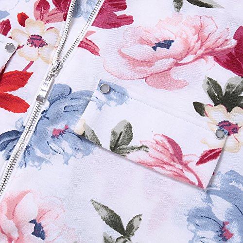 Top Loose Maglietta Bluse Elegante Cerniera shirt Con Moda Bulotus Floreale Basic T Maniche Corte Donna Rosso q5wHB0CP