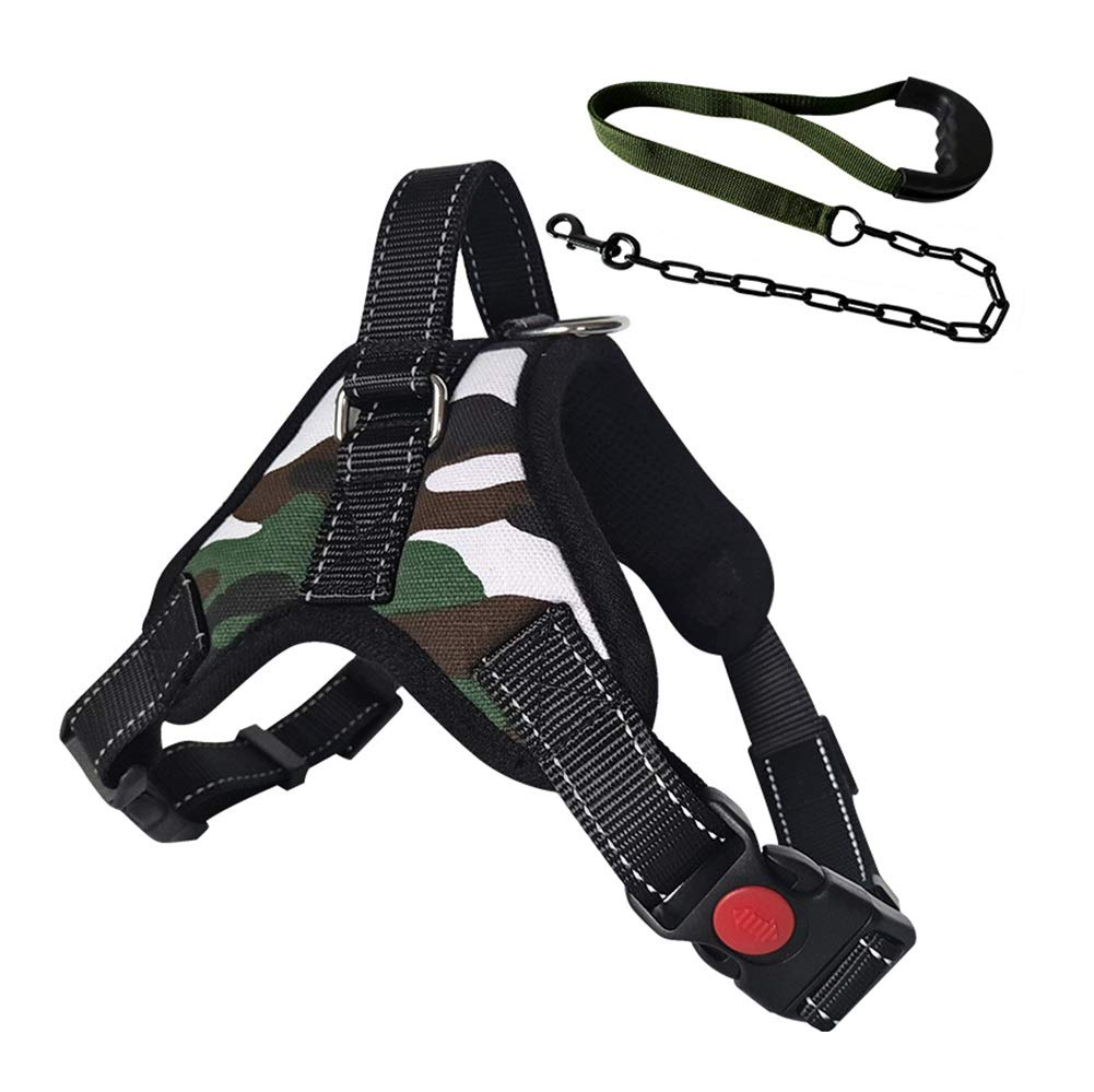 Camouflage M(50-60cm)  Camouflage M(50-60cm) Dog Vest Harness, Chest Strap with Traction Rope Adjustable Cat Universal Buffer Suitable for Small Medium Large Dogs Reflective Webbing Safety Harness (color    Camouflage, Size   M(50-60cm))