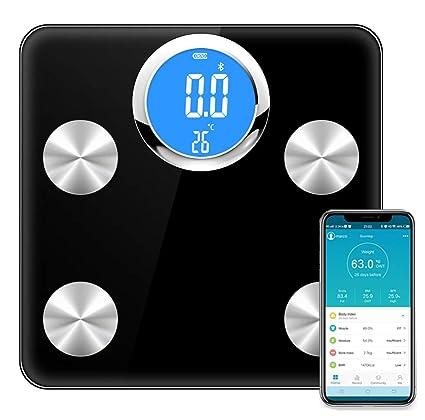 ZHESHEN Báscula Escala De Grasa Corporal con Bluetooth Y App para Móviles Andriod E iOS Báscula