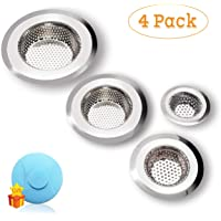 """Drain Hair Catcher, 4 Pack, Shower Drain Cover for Bathtub, Kitchen Sink Strainer, Stainless Steel Bathroom Sink, Drain Stopper with Different Sizes from 2.1"""" to 4.5"""""""