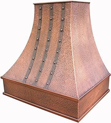Copper Best Kitchen Range Hood with 660CFM Certrifugal Blower, Includes Copper Cover, Stainless Steel 304 Liner and Baffle Filter, High Airflow Fan Motor, Lighting, 3-speed Switchs, Wall Mount W30xH30