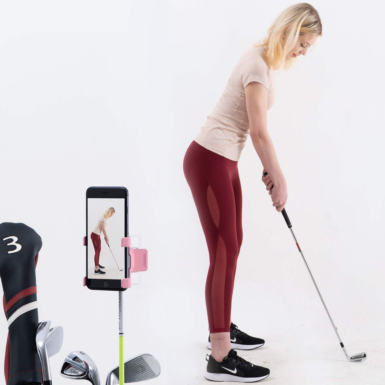 SelfieGolf Record Golf Swing - Cell Phone Clip Holder and Training Aid - Golf Accessories | Winner of The PGA Best Product | Works with Any Smart Phone, Quick Set Up (Pink/White)
