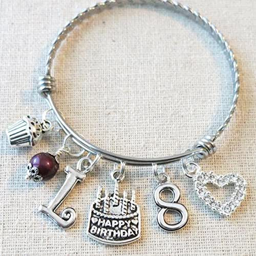 8th BIRTHDAY GIRL Birthday Charm Bracelet 8 Year Old Daughter Gift