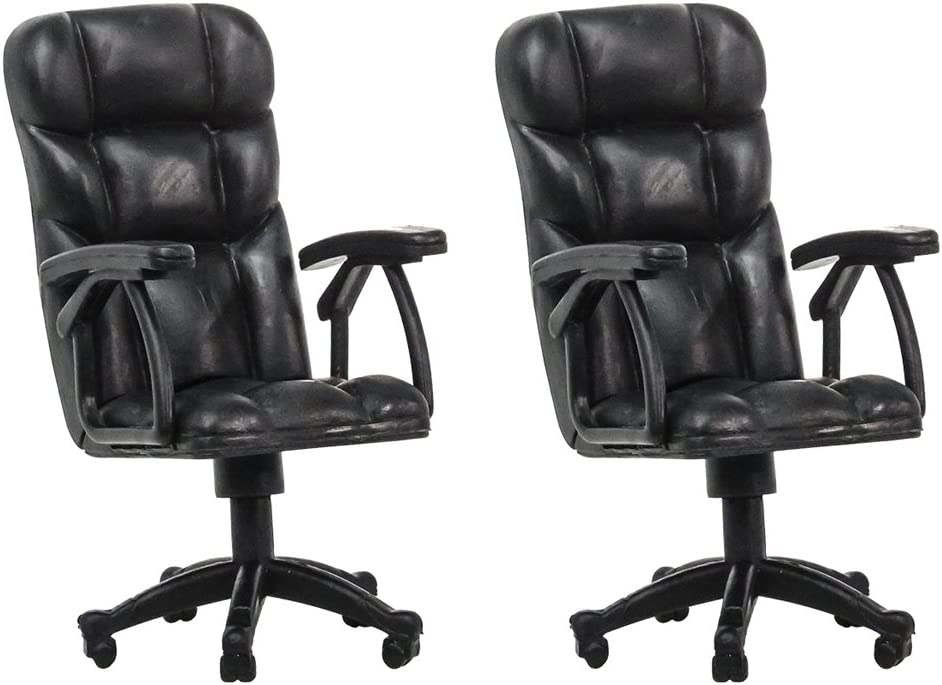 Set of 2 Plastic Toy Miniature Breakable Office Chair Accessories for Action Figures, Dioramas, Models