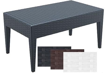 CLP Table Basse Design de Jardin Miami I Hauteur de 45 cm en Plastique  Aspect Rotin Empilable et Résistante Gris foncé, 90 x 50 cm