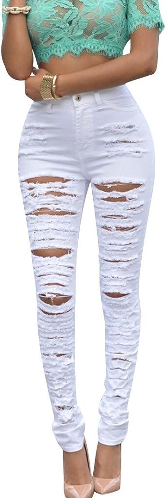Stretch Femme Taille Haute Legging Skinny Jeans Crayon Pantalon Slim Pantalon Long UK