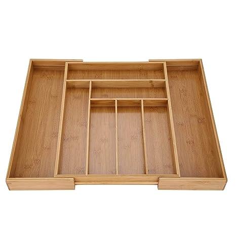Bandeja de almacenamiento para cubiertos, organizador de cajones, bandeja extensible de bambú para cubiertos