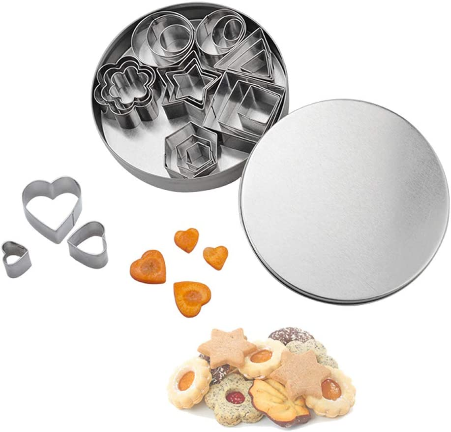 Mini Cookie Cutter Shapes Set - 24 Pieces Stainless Steel Metal Small Molds - Flower, Heart, Star, Geometric Shapes - Cut Fondant, Pastry, Mousse Cake and Clay (24 Pcs)