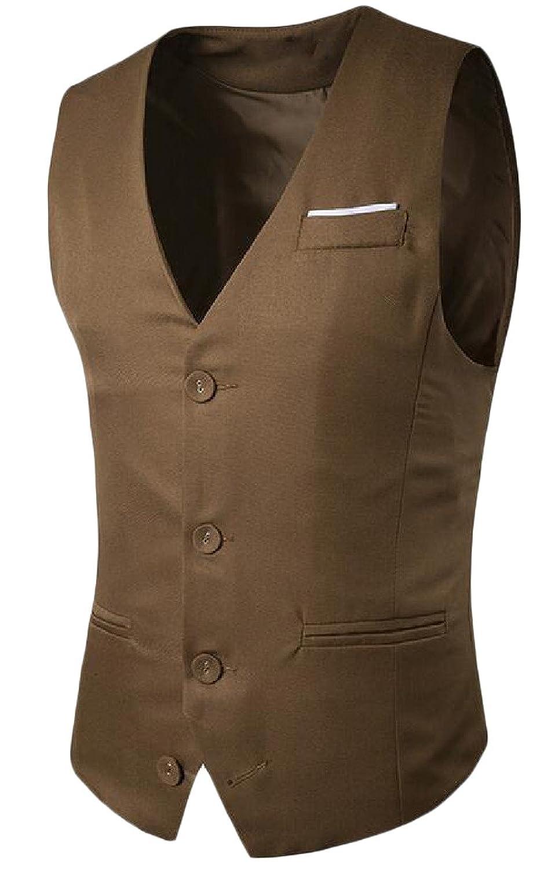 Abetteric Men's Single Breasted Premium Stylish Vest Blazer