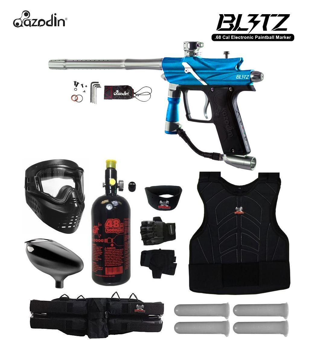MAddog Azodin Blitz 3 Starter Protective HPA Paintball Gun Package - Blue by Zephyr Paintball