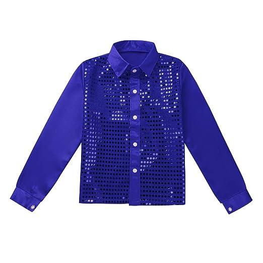 e23518189 iixpin Blusa Camisa de Manga Larga Niña Niño Unisex Camisa Hip Hop Top  Lentejuelas Brillo Blusa para Coro Danza Jazz Baile Actuación Escena Música  Fiesta ...