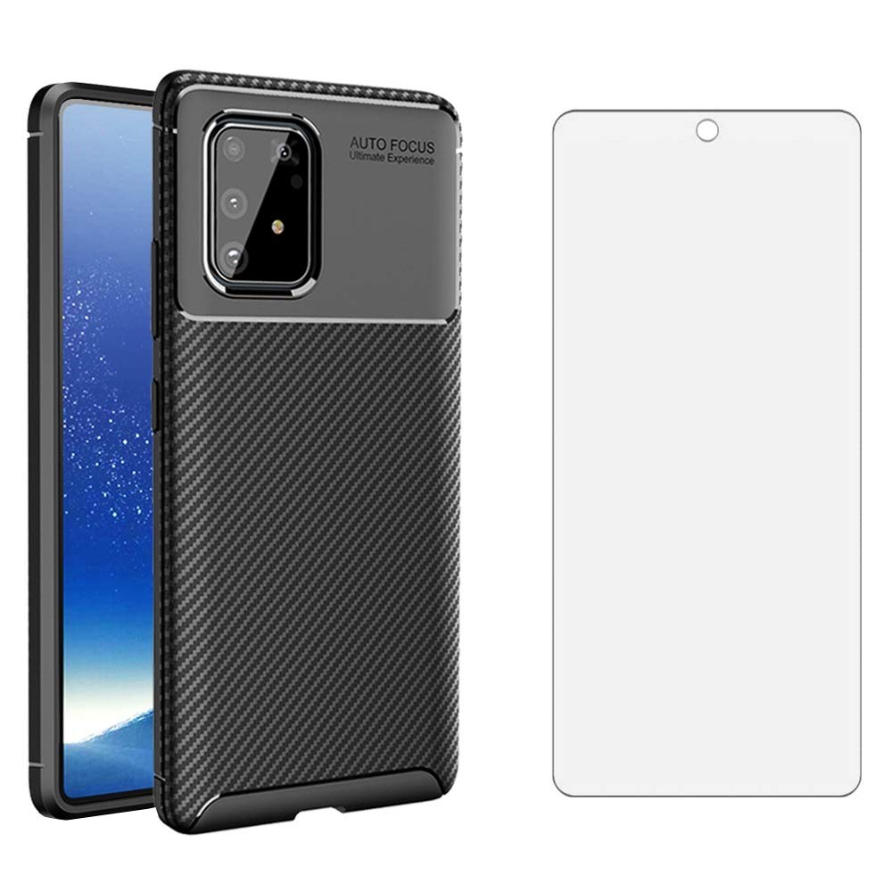 Phone Case for Samsung Galaxy S10 Lite with Tempered Glass Screen Protector Cover and Cell Accessories Slim Thin Rugged Soft TPU Silicone Carbon Fiber Glaxay S10lite S 10 10s Galaxies A91 Cases Black