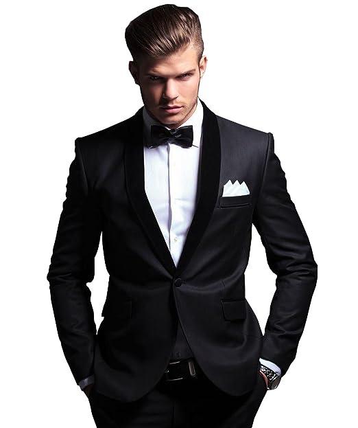 Amazon.com: TBB traje formal Hombre Trajes Slim Fit un botón ...