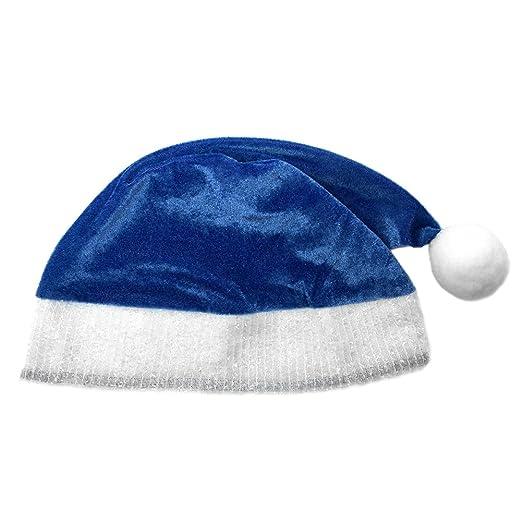 6ee1b2e65953d Amazon.com  Child Blue Plush Santa Hat ~ Kids Holiday Xmas Christmas  Costume Party Hat  Clothing