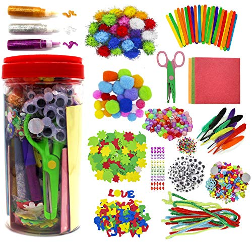 Assorted Arts and Crafts Supplies for Kids Girls Ages 6 7 8 9 10, Pipe Cleaners, Letter Beads, Pom Poms,Glue,Sticks,Wiggle Googly Eyes,All in One Toddler Crafts Set for School Projects DIY Activities
