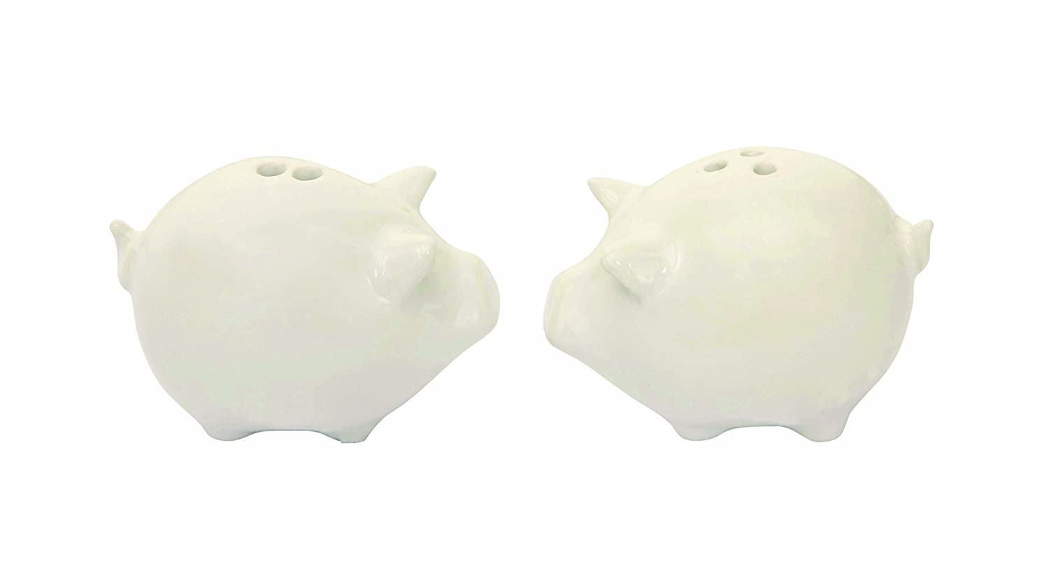 Creative Co-Op Stoneware Pig Salt and Pepper Shakers Set, White DA4606