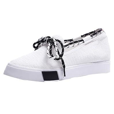 8ecd67095301b OHQ Baskets Pointues à Lacets Peu Profonds Noir Blanc Femmes Flats Pointu  Toe Lace-Up