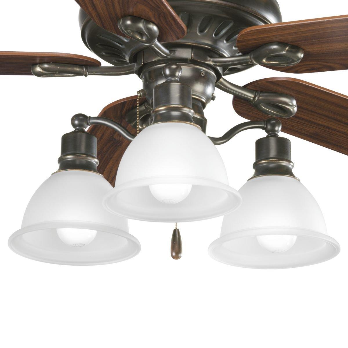 Progress Lighting P2623-09 3-Light Fan Light Kit Brushed Nickel